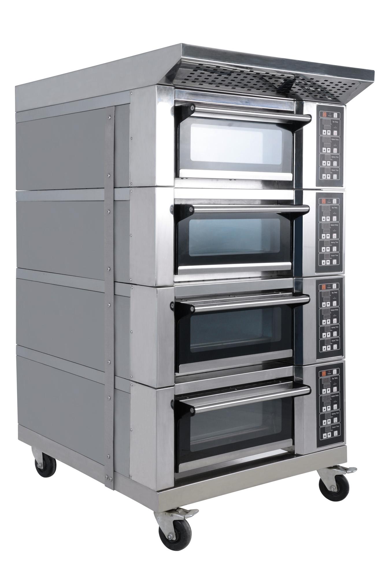 YX-9A系列远红外电热食品烤炉是采用远红外辐射金属电热管为发热元件,以热辐射作用透入物体内部,加热速度快,被烤物品受热均匀,色味兼优,符合食品卫生标准,炉温可在20-300范围内任意调节,并能自动恒温,本产品设有定时,自动控温,手动控温等多种功能可供选择,操作方便,性能可靠。 YX-9A系列电烤炉采用分层各自独立控制结构,每一层的底火及面火均可以控制,因而烘烤质量特别理想,本产品主要用于烘烤面包及饼食等,是中小型糕厂(店)及工矿企业机关,学校等单位食堂最理想的设备。 性能特点: 1.